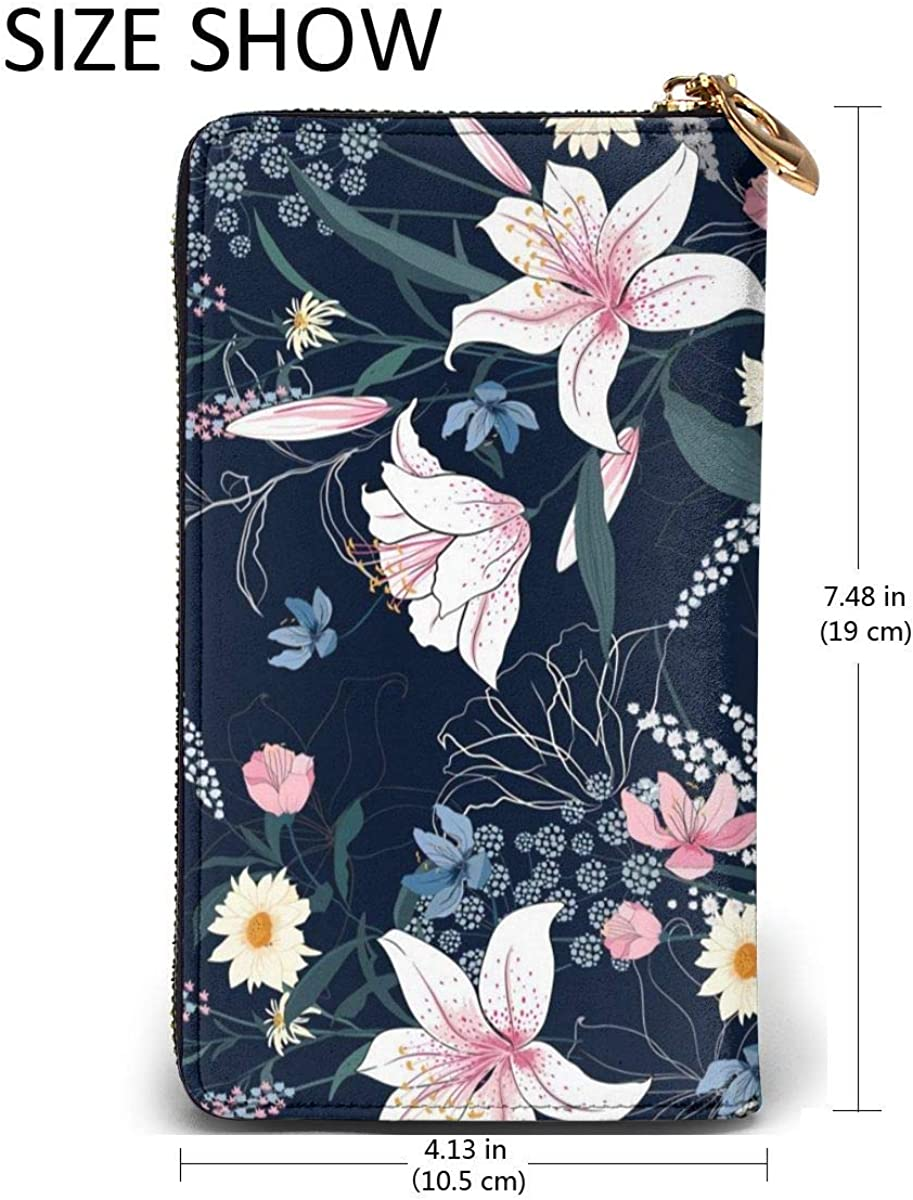 Leather Wallet Tropical Trendy Floral Pattern Women Men Travel Long Purse Zip Around Clutch Pouch ID Credit Card Coin Wallets