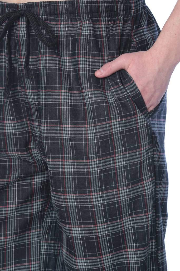 Beverly Rock Mens 100% Cotton Plaid Lounge PantsAvailable in Plus Size 22_Y17_JMP1 Black L by Beverly Rock (Image #2)