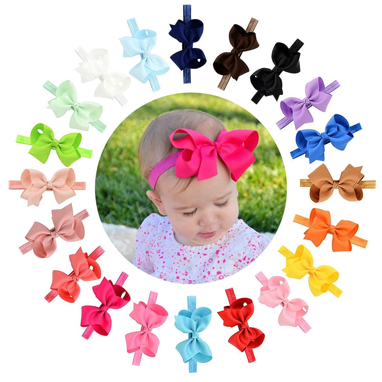 20 Stück Baby Mädchen Haar Bogen Haar Bands Elastische Stirnbänder mit 4 Haar Bogen für Kleinkind Neugeborene … 608-00-20
