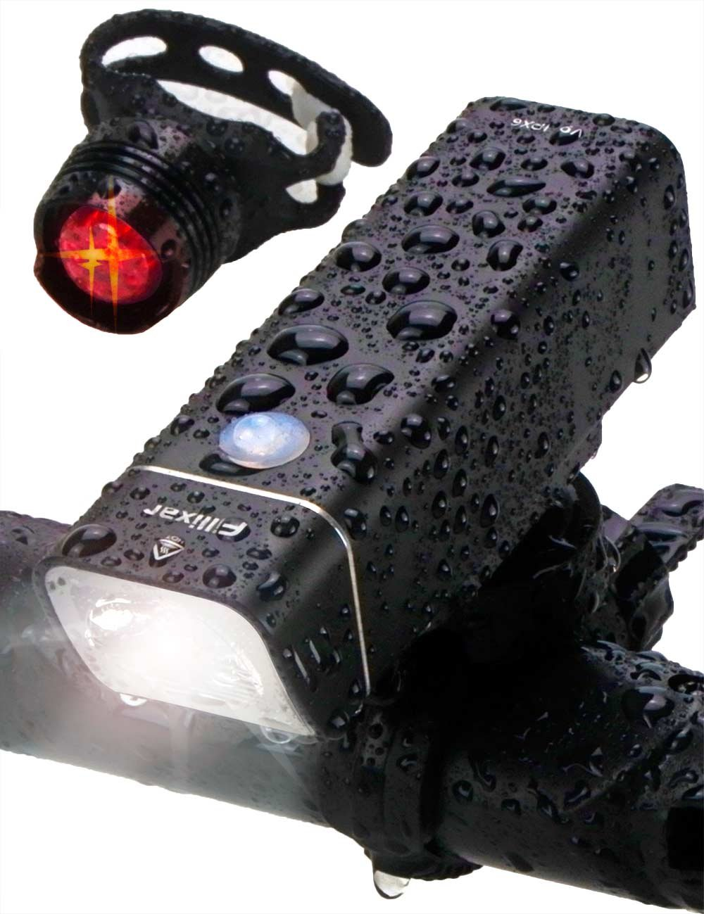 Fillixar USB Rechargeable Bike Light Front 600 Lumens, Bicycle Light Set with Rear Bike Light Included