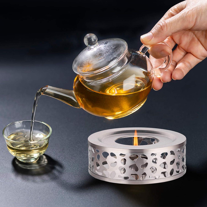 Teew/ärmer aus Edelstahl Silberne Teekanne mit St/övchen St/övchen f/ür teekanne QTTO St/övchen Teew/ärmer f/ür die W/ärmeerhaltung von Milch und Tee Geeignet