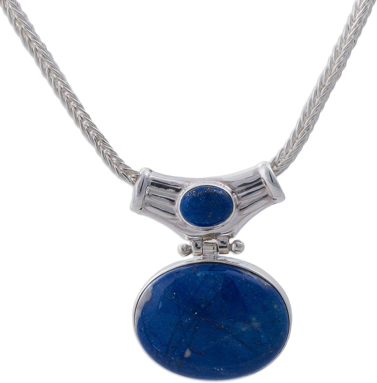 NOVICA Lapis Lazuli .925 Sterling Silver Pendant Necklace, 16.5