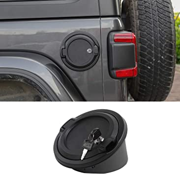 JeCar JL Gas Cap Cover Fuel Filler Door Locking Gas Cap Fuel Tank Door Locking Gas Tank Cap for Jeep Wrangler JL JLU Unlimited Rubicon Sahara 4-Doors 2-Doors 2018-2019 Black USA Flag