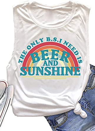 Womens Beer me Graphic Cute Shirts Casual Letter Holiday Printed Sleeveless Vest Tank Tops