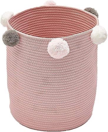 Zinsale Cuerda de algodón Cestos para la Colada Pom Pom Robusta Lavable Cesto de lavandería Juguetes para bebés Cesta de Almacenamiento de contenedores (Rosa): Amazon.es: Hogar