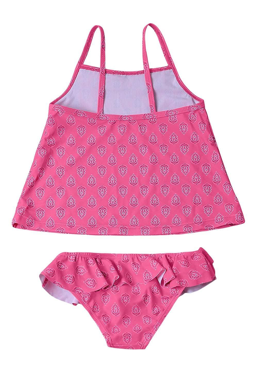 Aleumdr Little Girls Summer Two Piece Flower Printed Tankini Top Matching with The Bikini Bottom