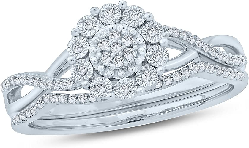 New Boxed 925 Sterling Silver cluster Engagement Wedding Ring