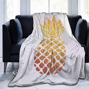 AUISS Plush Throw Velvet Blanket Cartoon Pineapple Fluffy Fleece Carpet Office Bedspread for Men Soft Sleep Mat Pad Flannel Cover for Winter