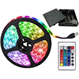 aijiaer Battery Powered Led Strip Lights, 5050 2M/6.6FT, Waterproof Flexible Color Changing RGB LED Light Strip, 60 LEDs…