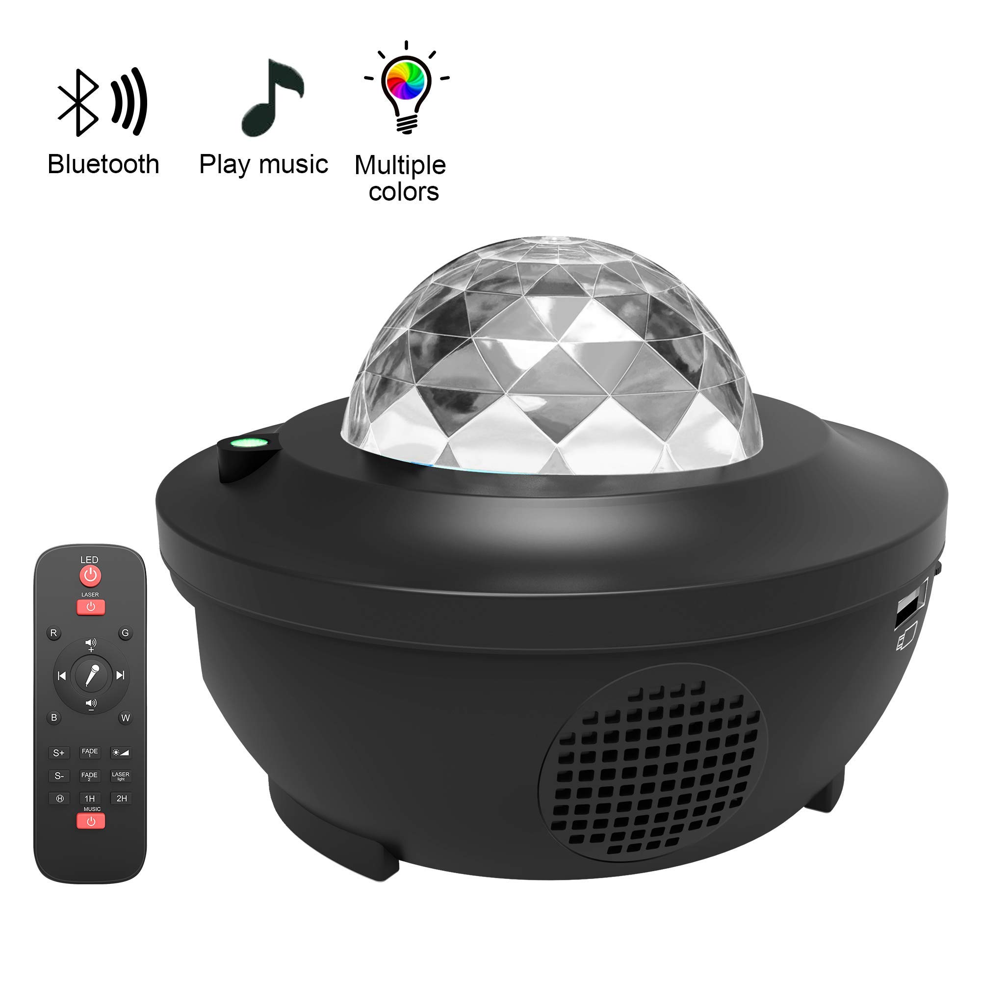 LED Star Projector Night Light Bluetooth Music Ocean Wave Party Laser Lamp Gifts