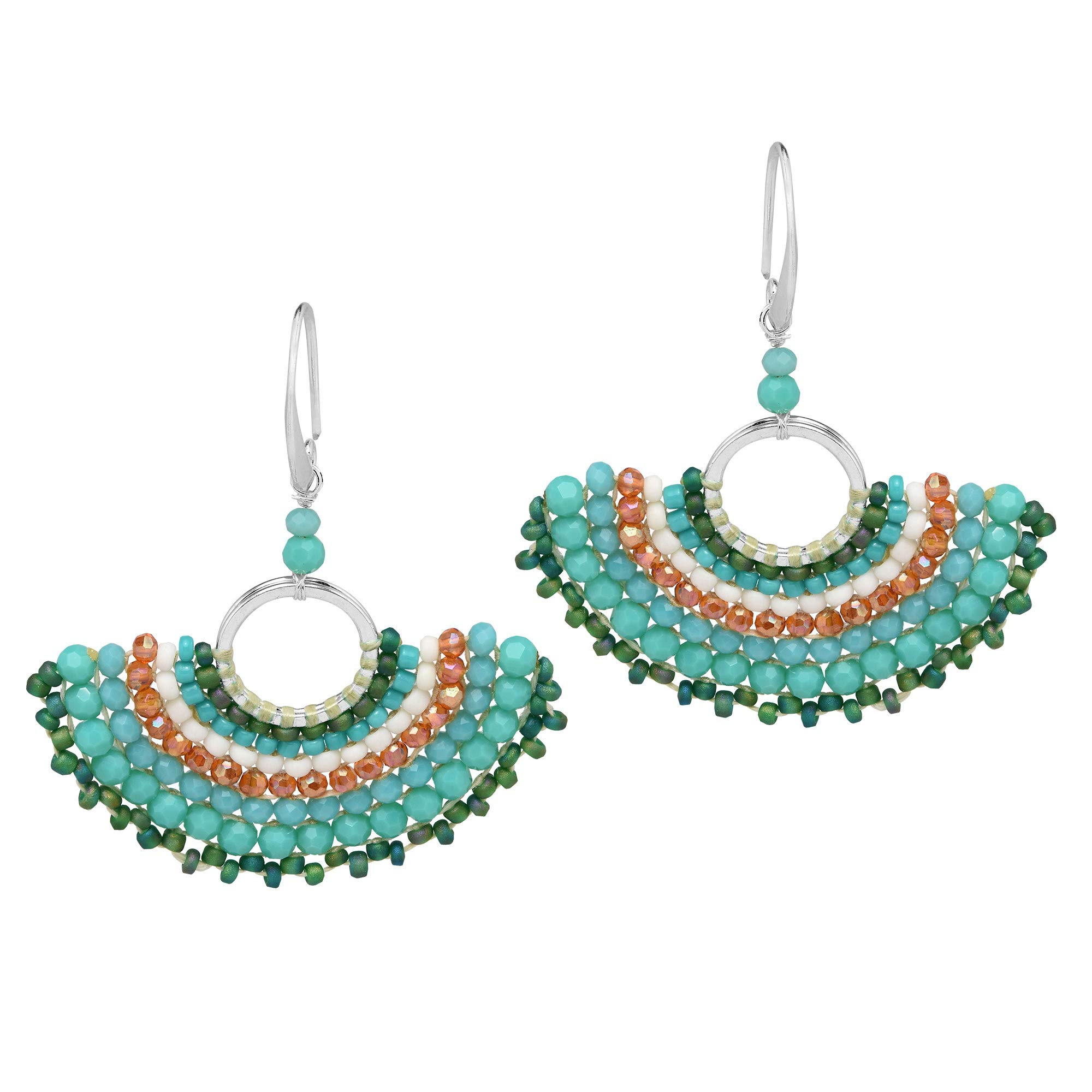 Chic Simulated Turquoise & Fashion Crystal & Fashion Bead Fan .925 Sterling Silver Dangle Earrings by AeraVida (Image #1)