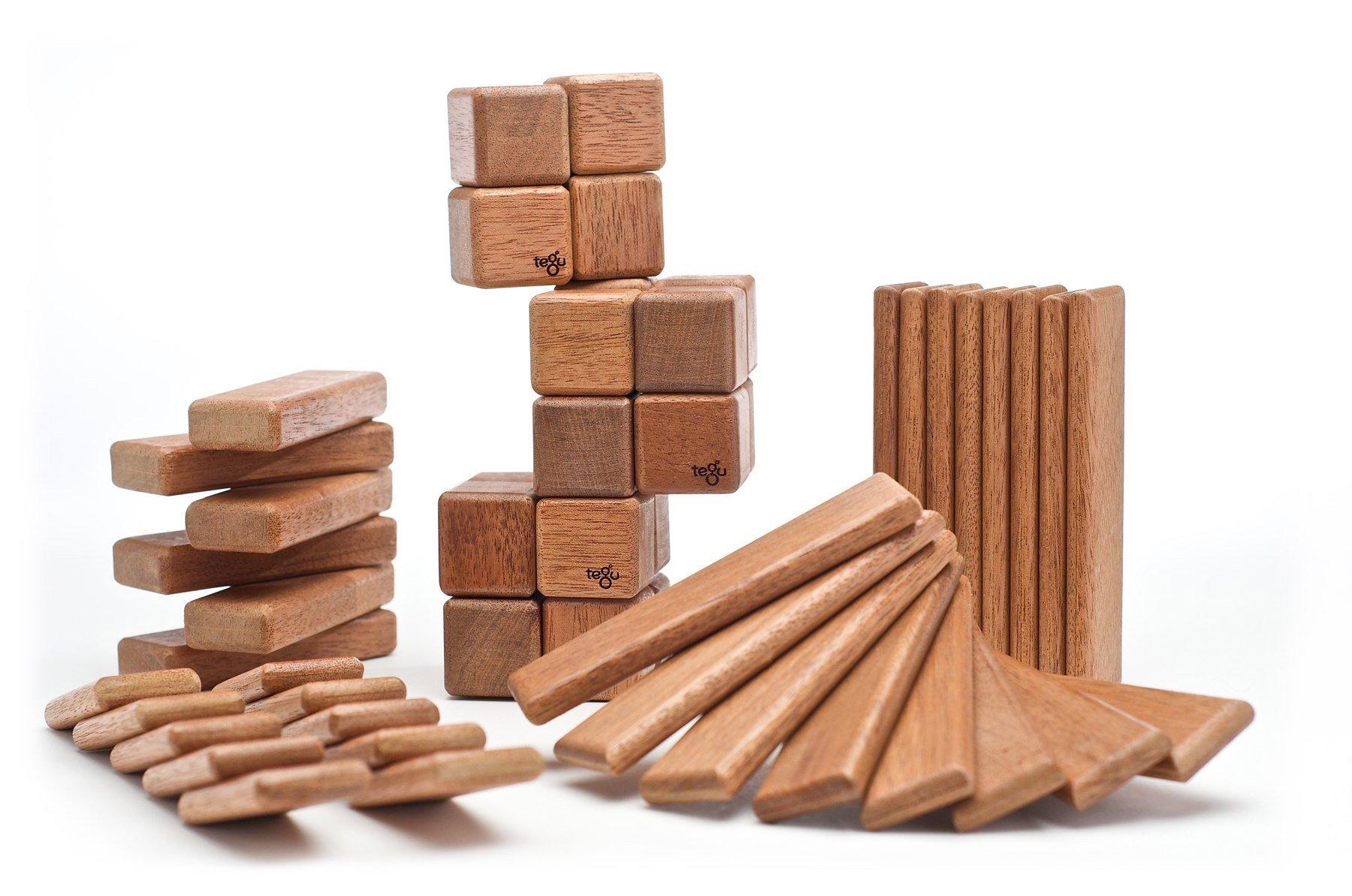 52 Piece Tegu Original Magnetic Wooden Block Set, Mahogany