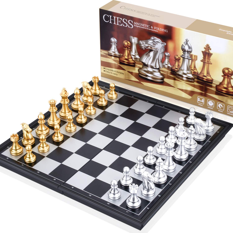 Peradix ajedrez magnetico Plegable,Juegos de Mesa Tablero de Ajedrez con Caja Set Ajedrez Ajedrez de Oro y Plata Juego De Tablero Juguetes Regalo para niños y Adultos 25 x 25 cm Elección de Viaje