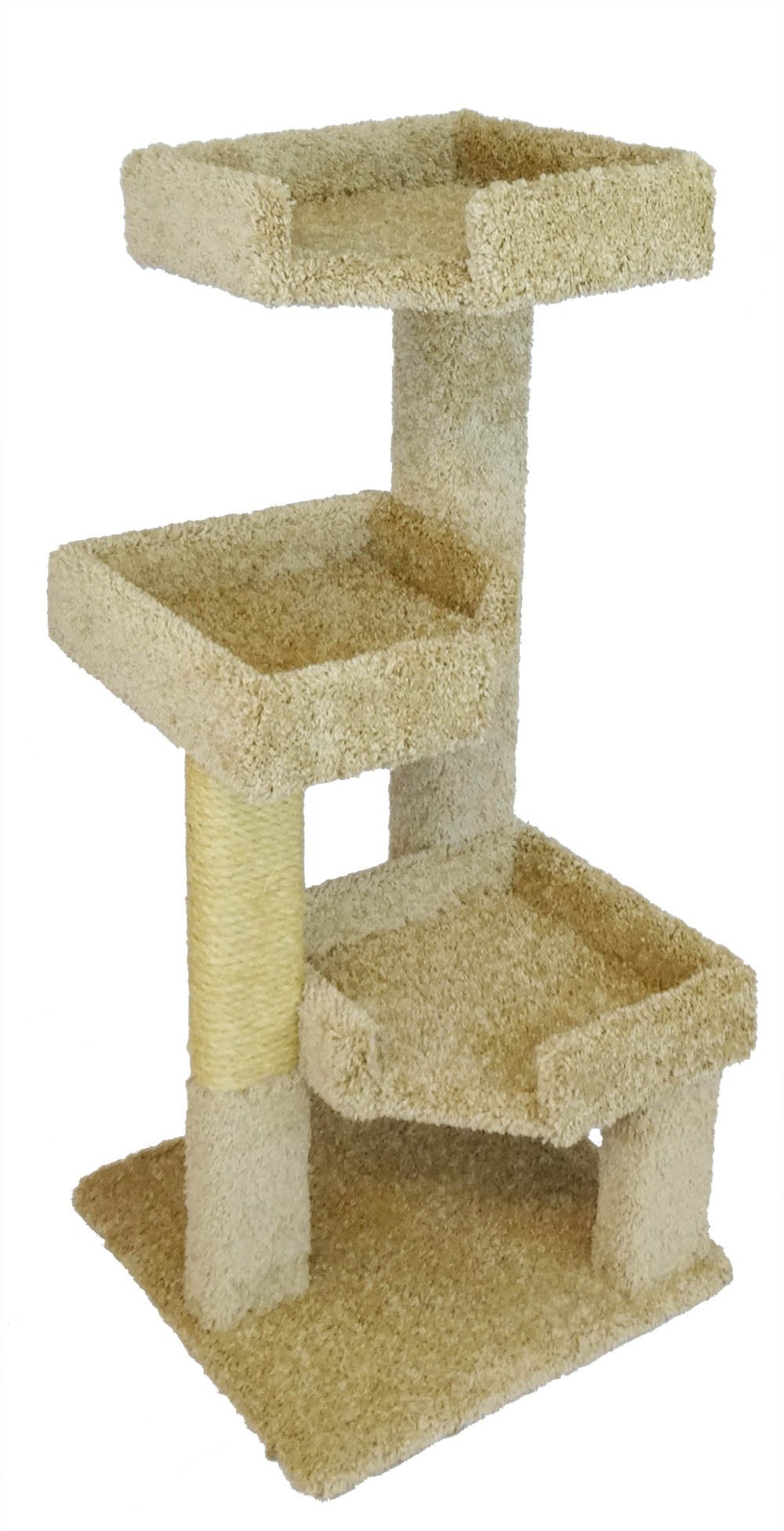 New Cat Condos 46'' Solid Wood Triple Kitty Pad, Beige