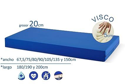 Ferlex SaniMat Colchón Geriátrico 20cm Grosor/COLCHON ANTIESCARAS 5cm Visco/Hospitalario/Articulado Funda