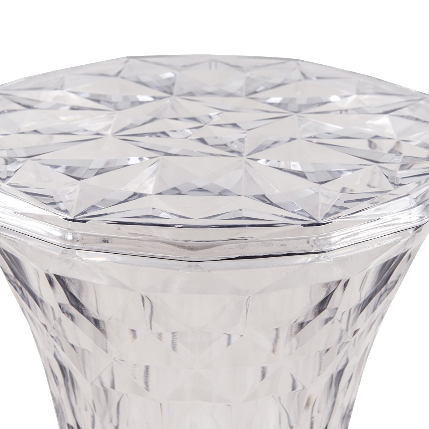 LeisureMod Diamond Shaped Modern Vanity Clio Stool Side Table Indoor and Outdoor Use Clear