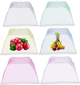 6 Pack Color Dome Screen Mesh Food and Plant Covers,17Inch Pop-Up Encrypted Mesh Plate Serving BBQ, Camping & Outdoor Cooking,Collapsible Reusable