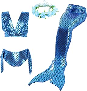 Mermaid Tail Mono fin Swimmable Tails Swimwear for Girls Kids 4-12 year Costumes