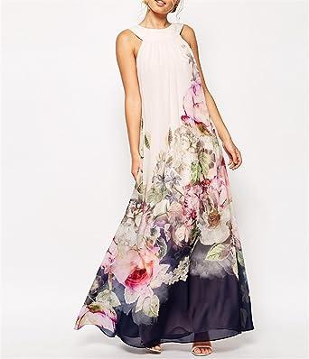 SHILINWEI Sleeveless Chiffon Floral Print Bohemian Fashion Ladies Vestido Vintage Dresses