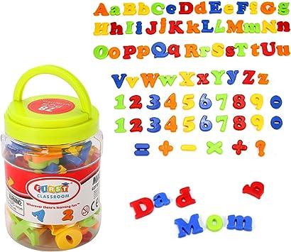 Kingso - Imanes infantiles para nevera con formas de cifras y letras, 78 unidades: Amazon.es: Juguetes y juegos