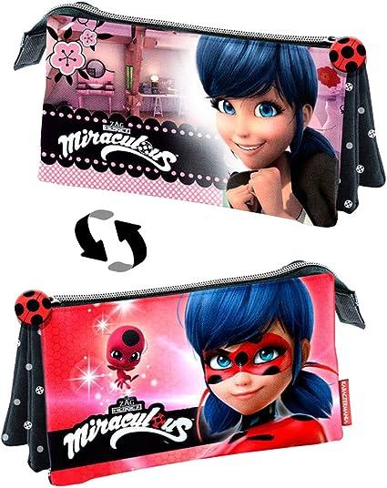 Miraculous – Estuche escolar Triple Magic Face Ladybug vs Marinette: Amazon.es: Oficina y papelería