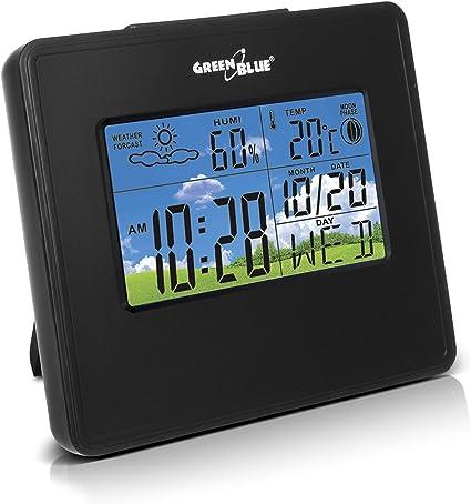 Radiosveglia digitale con stazione meteorologica GreenBlue con sensore esterno Nero