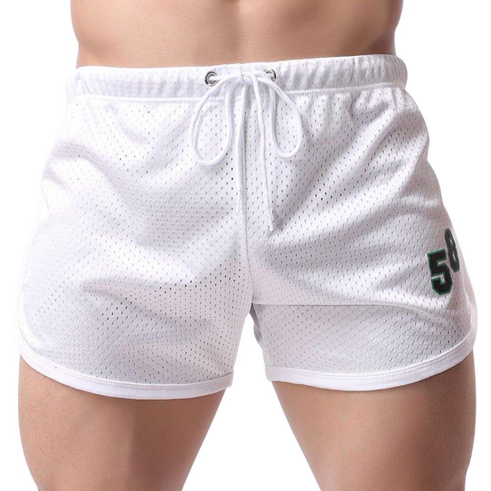 Mech-Eng Men's Bodybuilding Gym Dry Fit Running Mesh Boxing Shorts White L/Tag 2XL