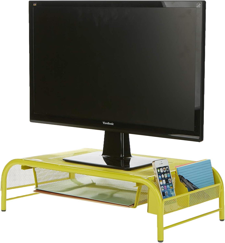 Mind Reader MESHMONSTA-YLW Metal Mesh Desk Drawer, Desktop Monitor Stand Organizer, Yellow