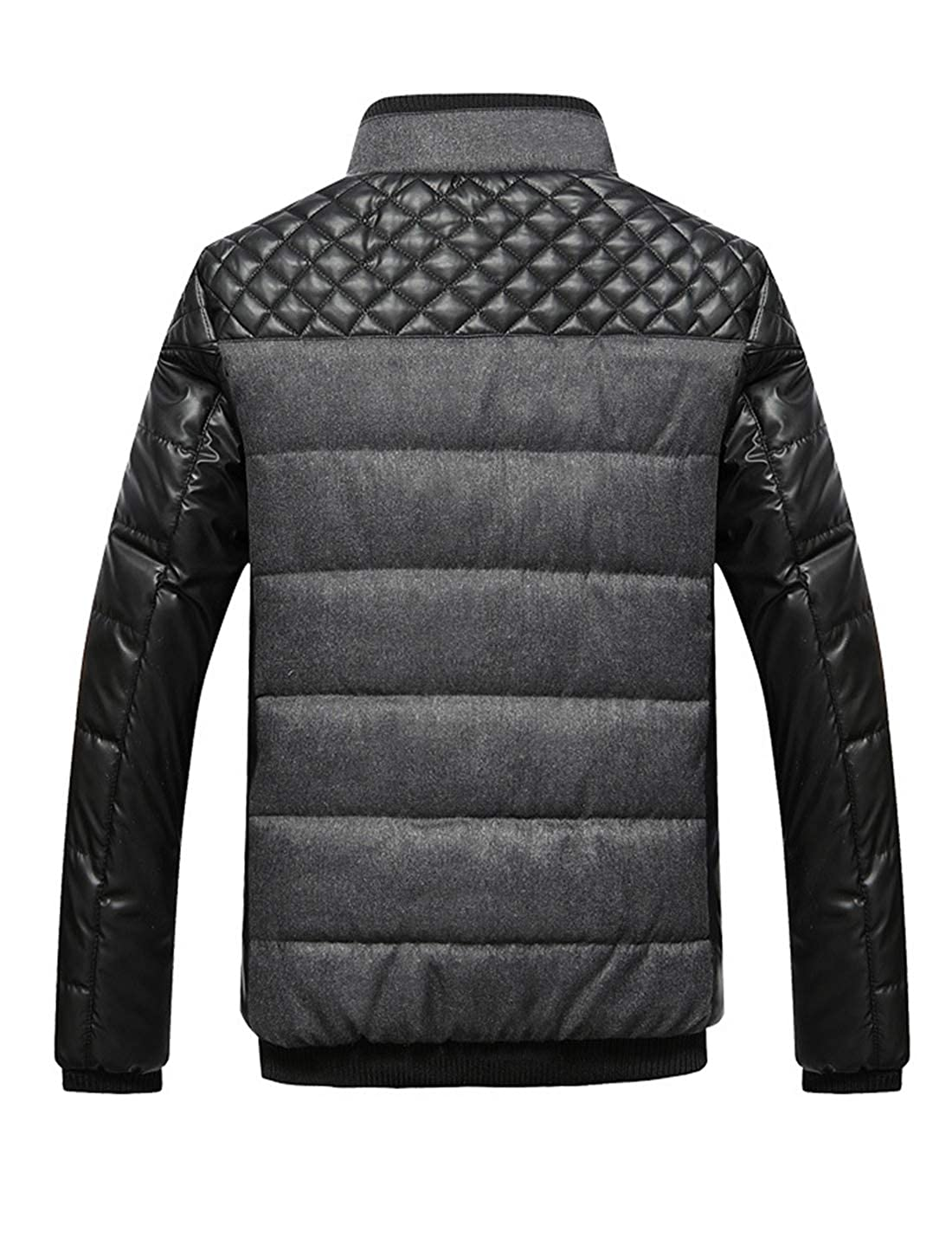 Lentta Mens Winter Warm Fleece Lined Zipper Quilted Stand Collar Jacket Coat