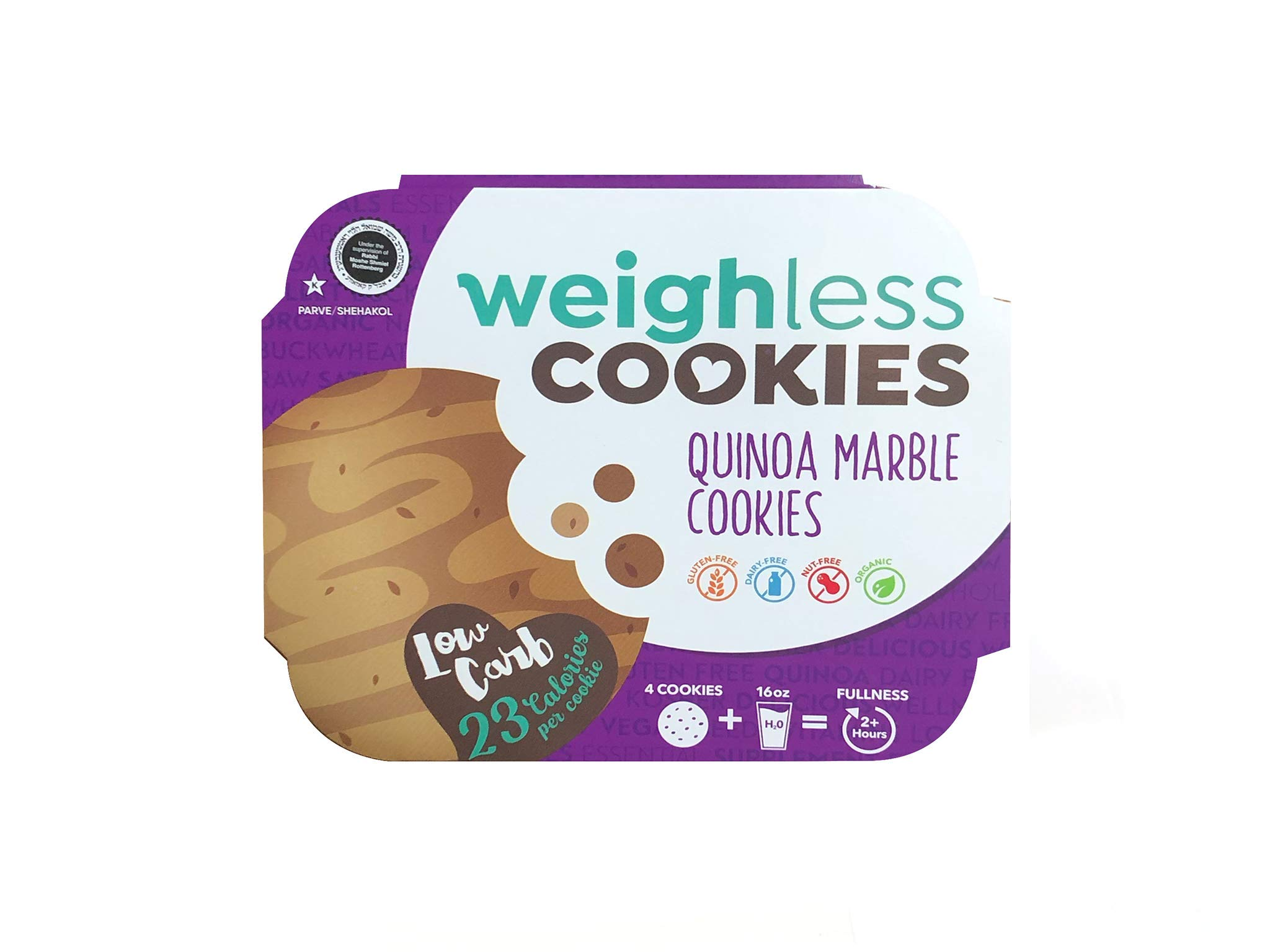 Weighless Cookies Gluten Free Low Carb Quinoa Marble - 6 Pack case by Weighless Cookies