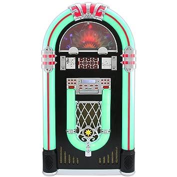 MonsterShop - Jukebox Años 50 con Vinilo, CD, USB, Bluetooth, SD/MMC Memory Card, Radio FM y AUX 128cm x 64cm x 38cm