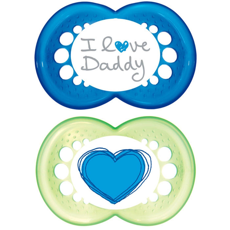 MAM 2 x Chupetes I Love Daddy 6-18m (Azul / Verde): Amazon ...