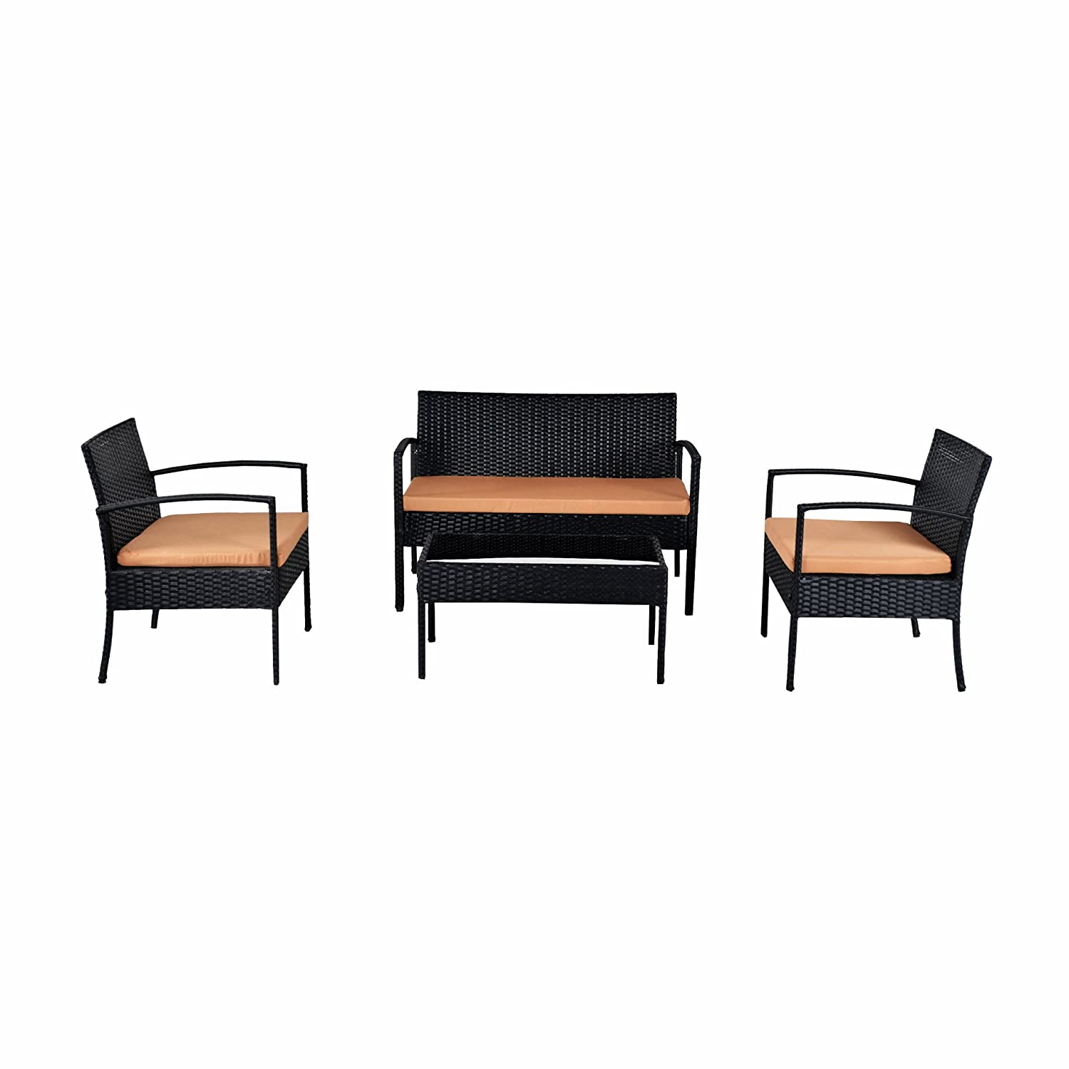 ebs classic outdoor garten schwarz rattan rattan m bel terrasse set sofa 4 st ck 3 st hle mit. Black Bedroom Furniture Sets. Home Design Ideas