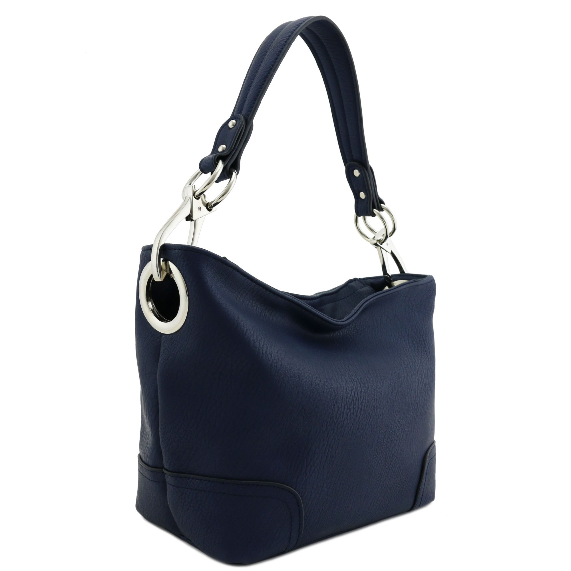 Hobo Shoulder Bag with Snap Hook Hardware Small (Navy)
