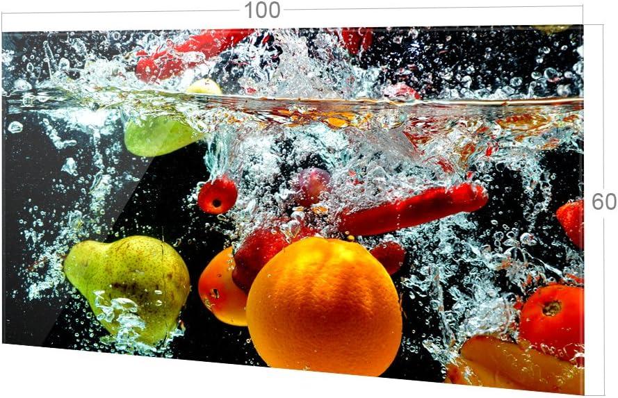 Herd Bild-Motiv Fr/üchte im Wasser K/üchenr/ückwand K/üchenspiegel Glasr/ückwand 80x60cm GRAZDesign Spritzschutz Glas f/ür K/üche