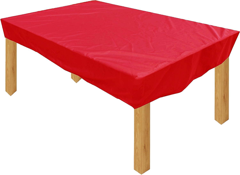 KaufPirat Premium Funda para Muebles de Jardín 180x105x15 cm Cubierta Impermeable Funda para Mesa para Mobiliario de Exterior Rojo: Amazon.es: Jardín