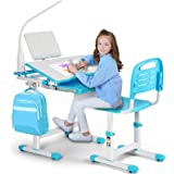 Artist hand Kids Study Desk and Chair Set Height Adjustable Children School Table Large Writing Board Desk with LED Lamp Pull