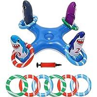 LANGYA Brinquedos infláveis para jogar anel de piscina, brinquedo para piscina com 6 peças de anéis flutuantes para…