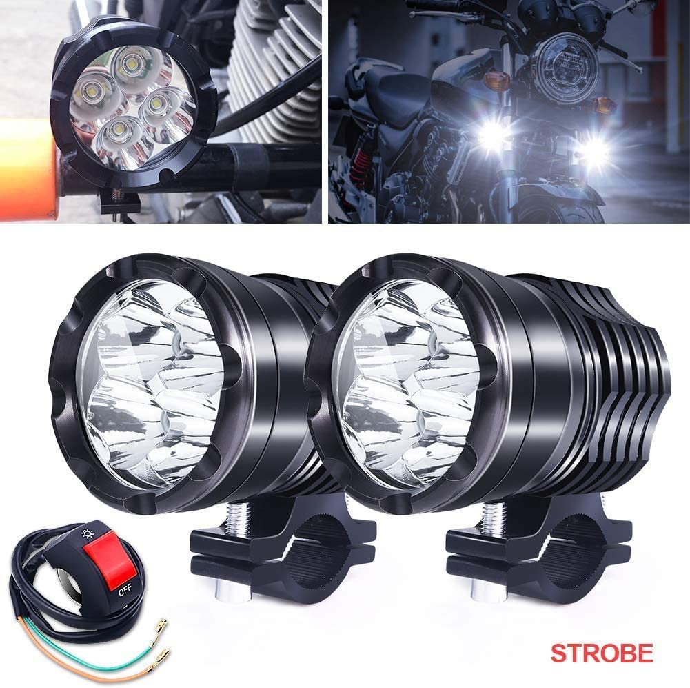 Biqing Motorcycle Spotlights High//Low Beam,Universal Motorcycle Headlights with Switch Motorcycle Fog Light U5 Motorcycle Daylight Running Lights 12V//24V for Car Trucks ATVs SUVs