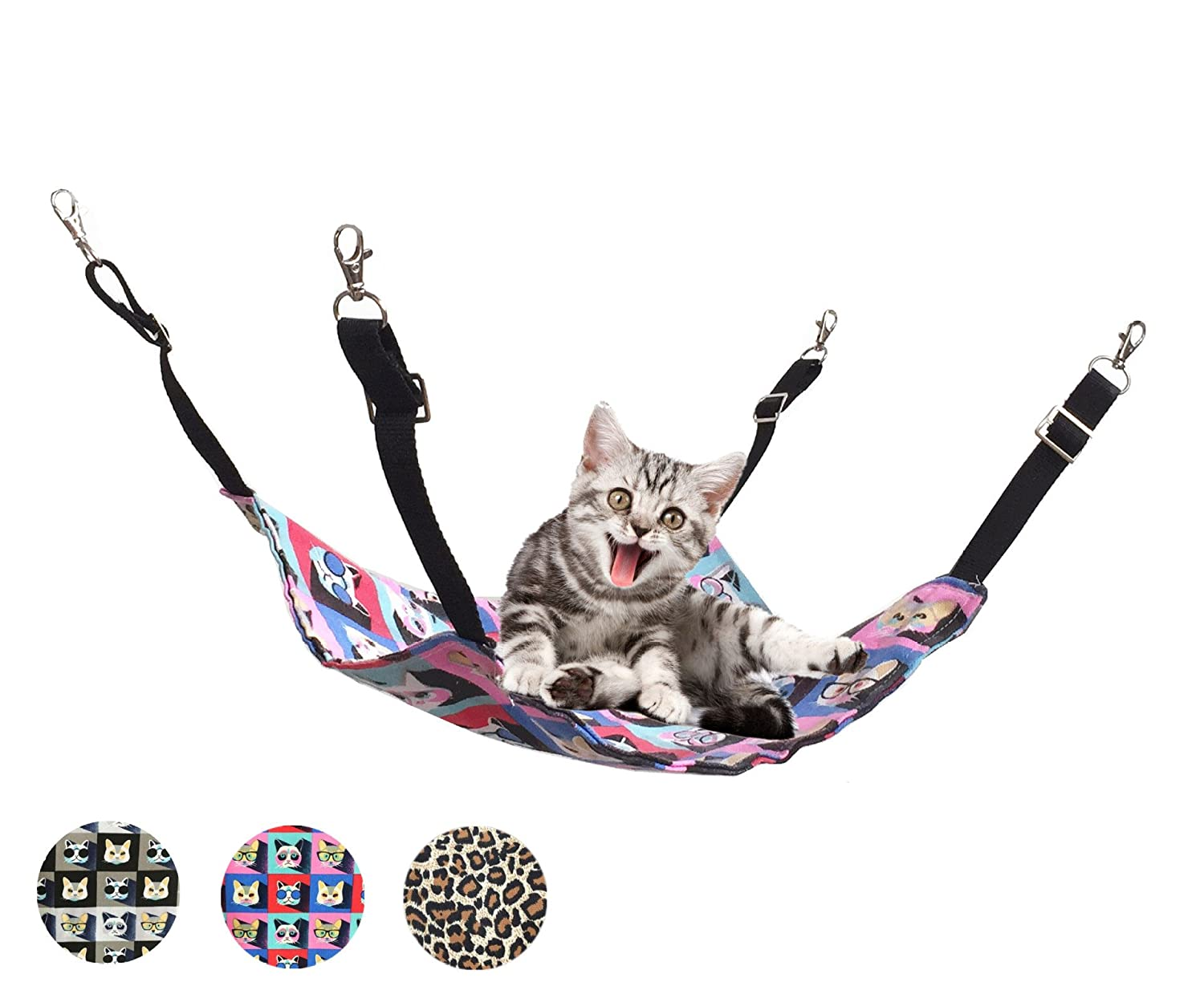 Ecosco Cat Hammock Bed Hanging Pet Perches Bed for Cats Small Dogs Rabbits Small Animals (Black-1)