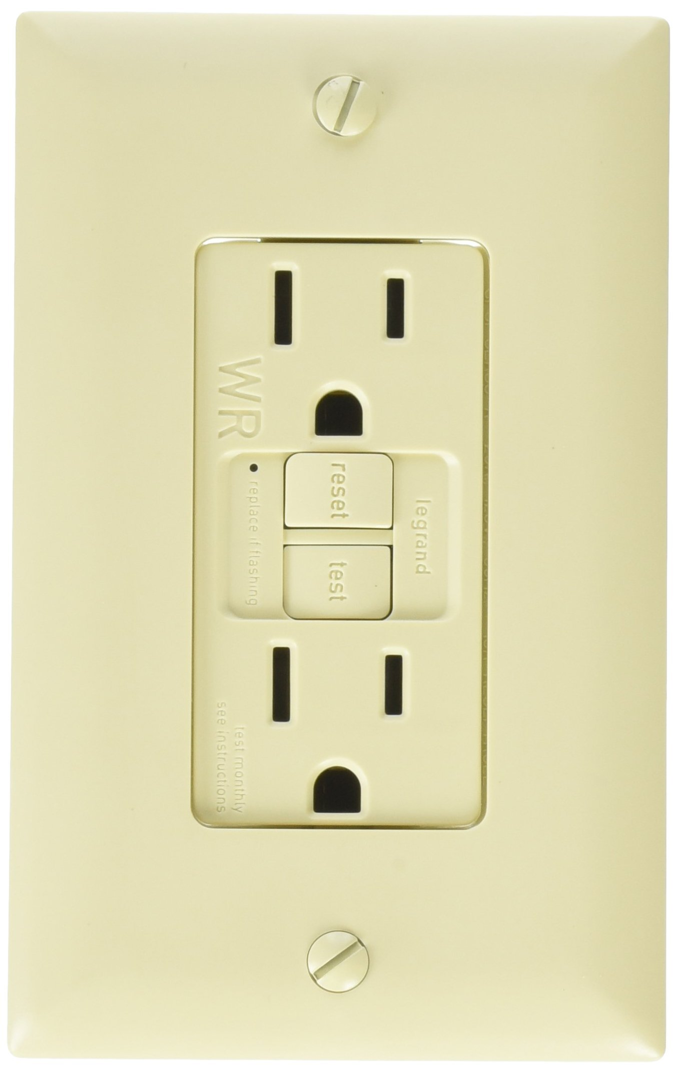 Legrand-Pass & Seymour 1597TRWRICC4 Self-Test GFCI Receptacle Outlet with Wall Plate, 15Amp 125V, Ivory
