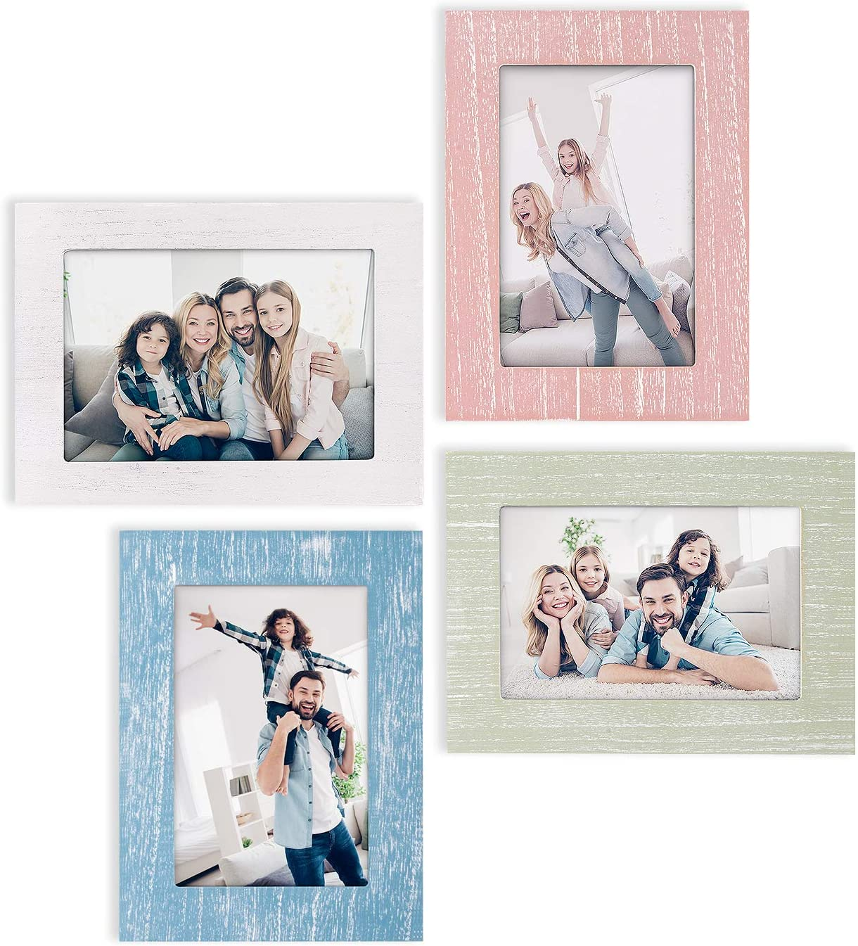 eletecpro Picture Frames 4x6 Inch Set of 4 - Wooden Designs Wall Decor Table Top & Wall Mount Photo Frames Sets for Wall - Vertical & Horizontal - Rustic Home Décor Picture Frame