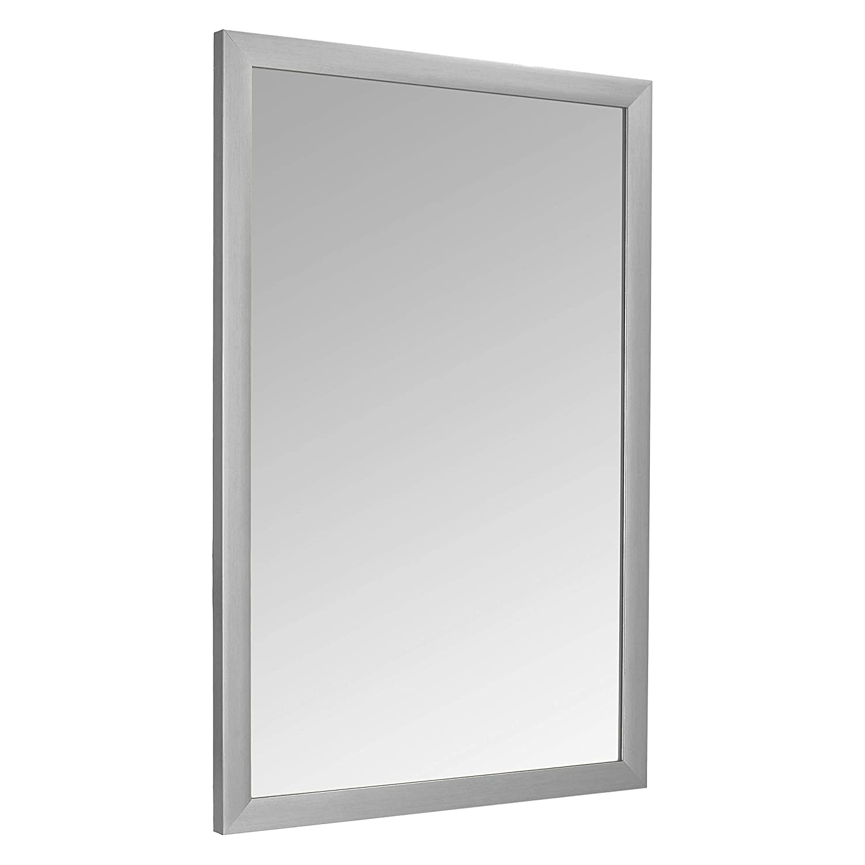 "AmazonBasics Rectangular Wall Mirror 24"" x 36"" - Standard Trim, Nickel"