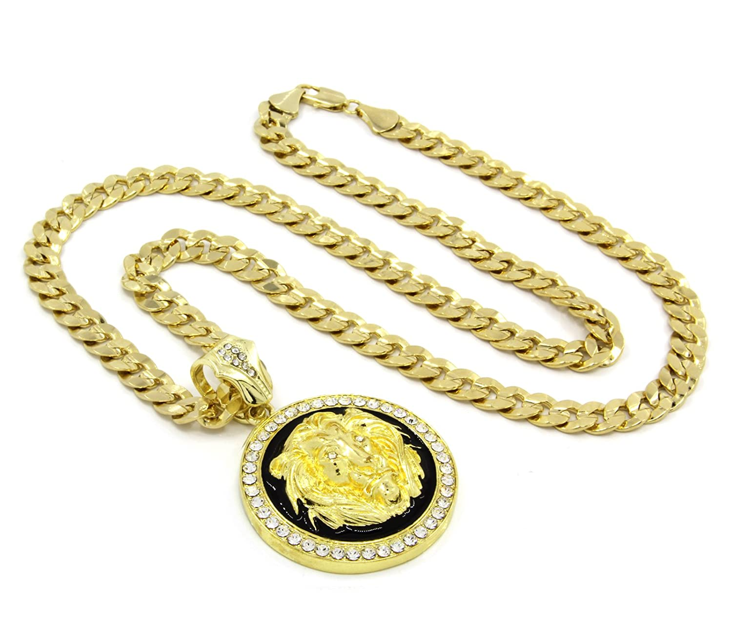 lion get jewelry gold of jungle amazon plated necklace the pendant com power dp king