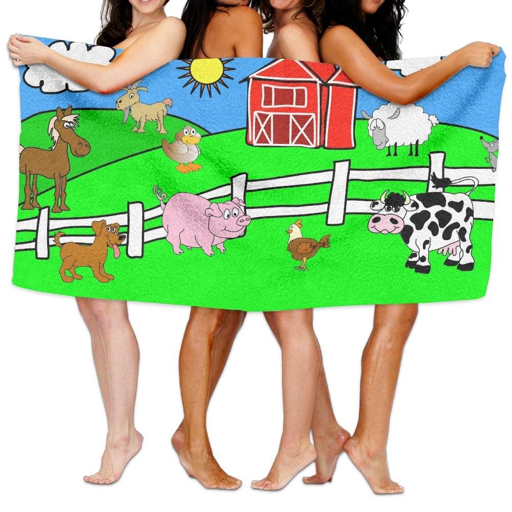 PengMin Cartoon Animal Farm Premium 100% Polyester Large Bath Towel, Pool And Bath Towel (80'' X 130'') Natural, Soft, Quick Drying
