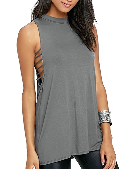533df907f20f29 iChice Womens Sleeveless Cut Out Round Neck Basic Tank Top at Amazon Women s  Clothing store