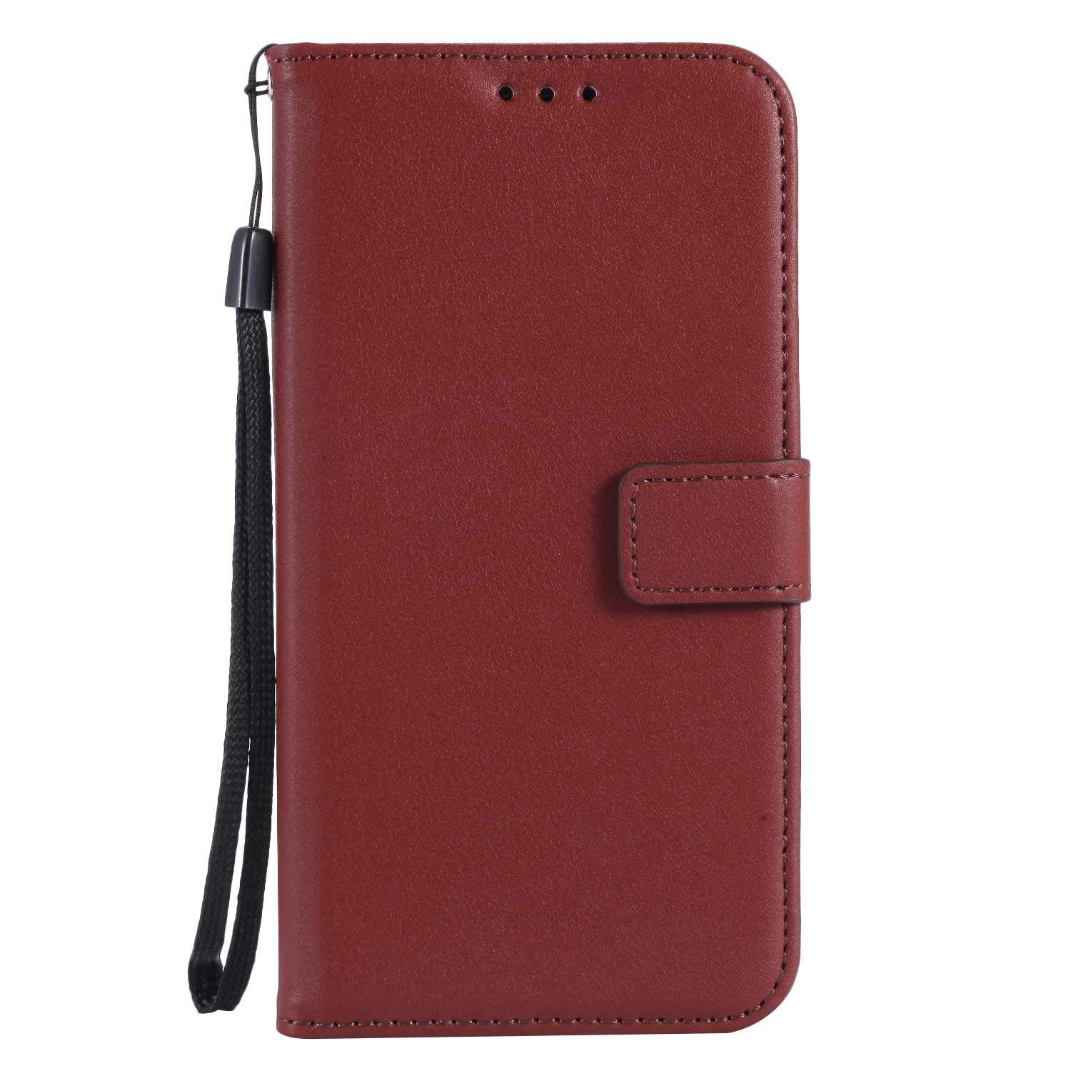UNEXTATI Galaxy J1 2016 Case, Leather Magnetic Closure Flip Wallet Case with Card Slot and Wrist Strap, Slim Full Body Protective Case (Brown #6)
