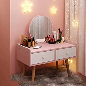 DIDIAN Dressing Table,Led Screen Lighted Mirror Makeup Vanity,Wooden 2 Drawers Organizer Makeup Vanity Table,Gift Vanity Table-Pink 60x40x76cm(24x16x30inch)