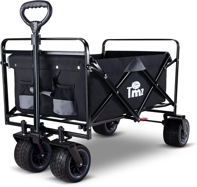 TMZ All Terrain Utility Folding Wagon, Collapsible Garden Cart, Heavy Duty Beach Wagon, for Shopping and Outdoor Activities (Black/Grey)