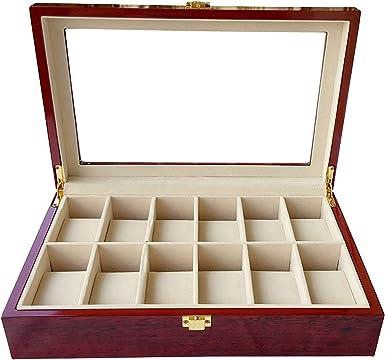 Bearhouse Caja para Relojes Madera Estuches Guardar Relojes con 12 Almohadilla Hombre Rojo: Amazon.es: Relojes